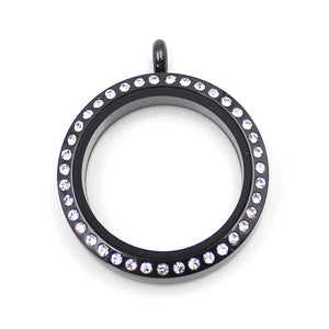 Round Black with Crystals