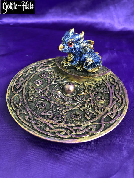 Elements Baby Dragon Incense Burner Dish Blue