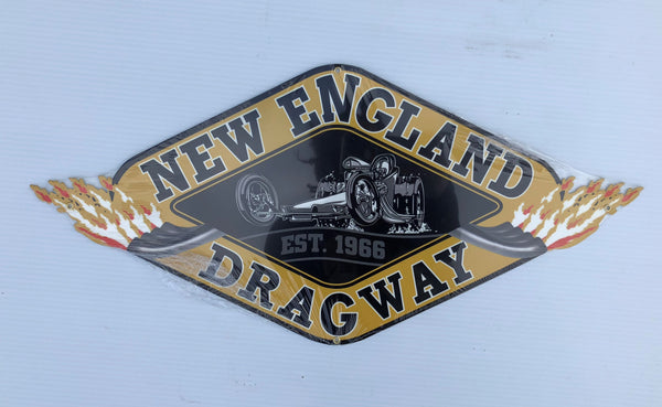 New England Dragway Logo Metal Sign