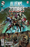 Aliens vs. Zombies #1 Aliens Under Attack Guns Zombies Battle Surrounded Comic Book Cover Art