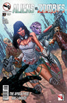 Aliens vs. Zombies #1 Human Girl Teamed Up with Aliens Fighting Zombies Guns Comic Book Cover Art