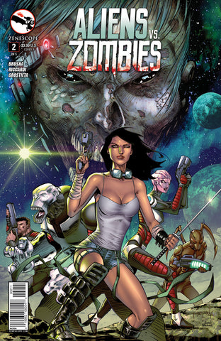 Aliens vs. Zombies #2 Human Girl Alien Team Under Attack Zombies Comic Book Cover Art