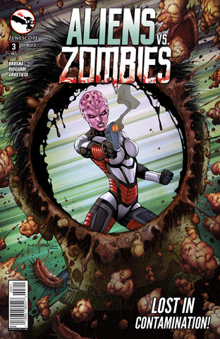 Aliens vs. Zombies #3 Alien Shoot Hole In Zombie Head First Person Comic Book Cover Art