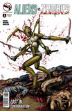 Aliens vs. Zombies #3 Mantis Alien Wielding Swords Chopped Up Zombies Comic Book Cover Art