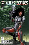 Aliens vs. Zombies #3 Human Girl Alien Armor Zombie Face Background Comic Cover Art