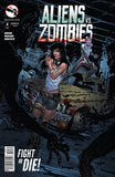 Aliens vs. Zombies #4 Human Girl Alien Bloody Car Apocalypse Wreck Scary Comic Book Cover Art