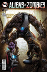 Aliens vs. Zombies #5 Human Alien Under Attack Zombified Mega Alien Scary Comic Book Cover Art