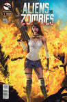 Aliens vs. Zombies #5 Human Girl Aftermath Explosion Big Gun Tank Top Fire Comic Book Cover Art