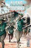 Aliens vs. Zombies #5 Zombie Eagles Fan Running From Stadium Apocalypse Comic Book Cover Art