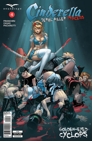 Cinderella: Serial Killer Princess #4 Dead Zenescope Universe Characters Cindy Sitting With Sword Blood Tongue In Cheek Violence
