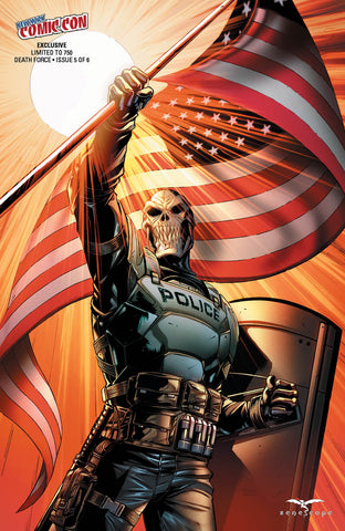 Death Force #5 - Cover I Riveiro SWAT Police Officer Mask American Flag Pride