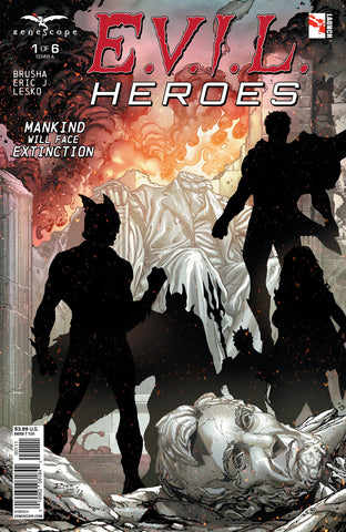 E.V.I.L. Heroes #1 Superhero Silhouettes Destroyed City Lincoln Memorial Statue Destruction Fire