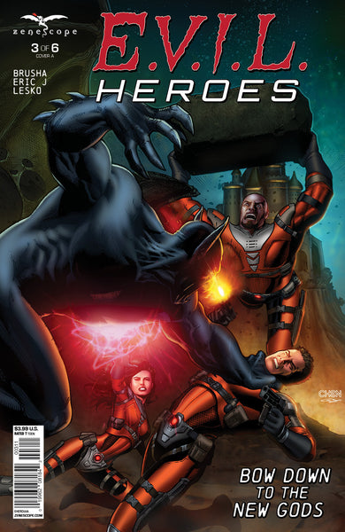 E.V.I.L. Heroes #3 Hellions Fighting New God Throwing Boulder Electrical Energy Gun Firing Battle Action Exciting Thrilling