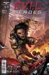 E.V.I.L. Heroes #3 Evil New God Racing Over Cars Whip Chains Destroyed City Burning Action