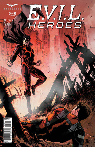 E.V.I.L. Heroes #5 Chaos Fight Hellion Destroyed City Apocalypse Violence Battle Scene Fight