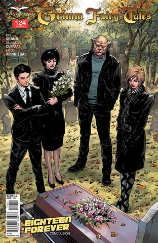 Grimm Fairy Tales #124 Funeral Friends Around Grave Flowers Black Suit Dresses Somber