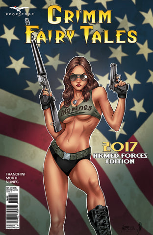 Grimm Fairy Tales: 2017 Armed Forces Edition Marine Girl Assault Rifle Pistol American Flag Patriot