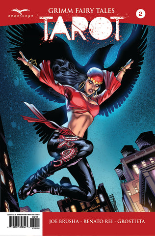 Grimm Fairy Tales: Tarot #2 Nataliya Witch Raven Night City Skyline Cool Comic Book Cover Art