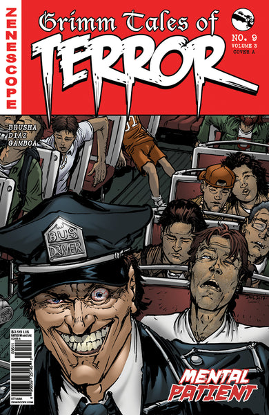 Grimm Tales of Terror: Vol. 3 #9 Crazy Madman Driving Bus Evil Mental Patient Comic Book Cover Art