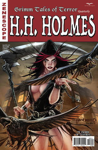 Grimm Tales of Terror Quarterly: HH Holmes. Cover A. Al Barrionuevo. Ula Mos. Zenescope. 2021.