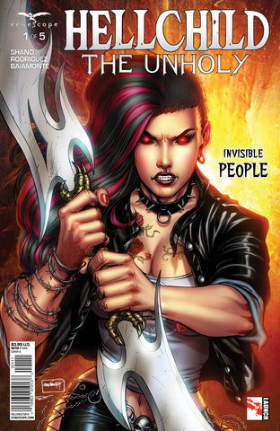 Hellchild: The Unholy #1 Angelica Blackstone Giant Sword Fire Action Comic Cover Art