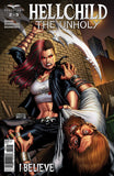 Hellchild: The Unholy #2 Angelica Blackstone Attacking Man Giant Sword Alleyway Comic Cover