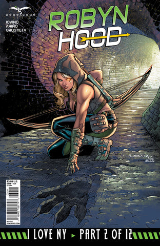 Robyn Hood: I Love NY #2 Robyn Sewer Bow and Arrow Dark Light Comic Art Cover