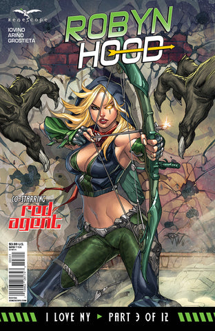 Robyn Hood: I Love NY #3 Robyn Under Attack Monster Lizardman Bow and Arrow Fog Comic Cover