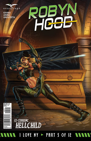 Robyn Hood: I Love NY #5 Robyn Open Coffin Firing Arrow Exciting Comic Cover Art