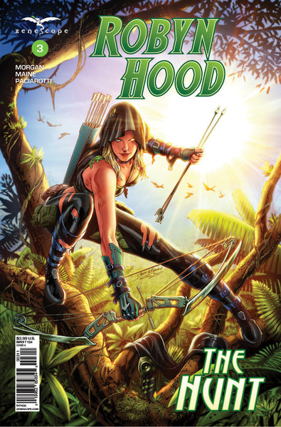 Robyn Hood: The Hunt #3 Jungle Running Movement Tree Bow Arrow Cool Comic Book Cover Art