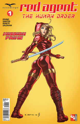 Red Agent: The Human Order #1 Samurai Sword Yellow Red Riding Hood Pose Comic Cover