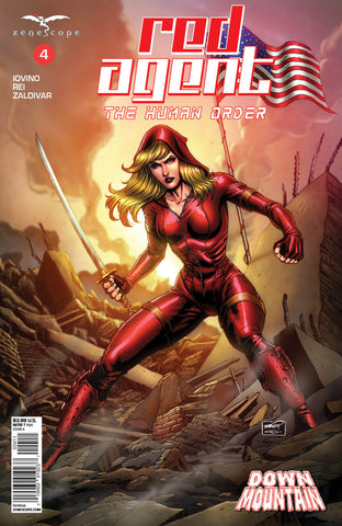Red Agent: The Human Order #4 Destroyed City American Flag Samurai Sword Ready Battle Comic Cover