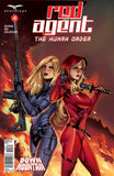 Red Agent: The Human Order #4 Secret Agent Black Jumpsuit Assault Rifle Sword Fire Flames Comic Cover