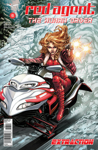 Red Agent: The Human Order #6 Snowmobile Flying Down Mountain Firing Pistol Exciting Thrill Comic