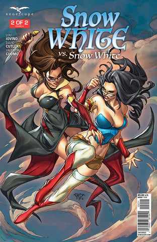 Snow White vs. Snow White #2 Mid-Air Battle Fight Exciting Thrill Comic Book Cover Art