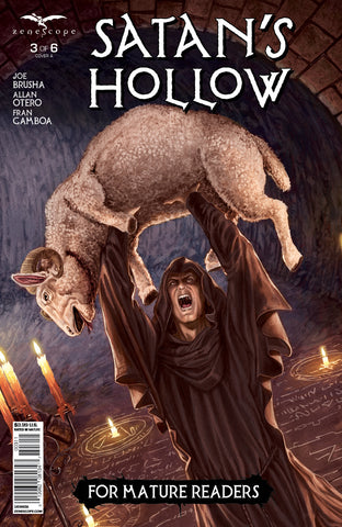 Satan's Hollow #3 Ritual Druid Black Robe Evil Sheep Sacrifice Blood Scary Comic Cover Art