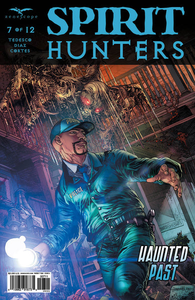 Spirit Hunters #7 Police Officer Investigating Ghost Attack Flashlight Spooky Comic Cover
