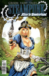 Grimm Fairy Tales Steampunk: Alice In Wonderland Alice with Hat and Gun Running Through Forest