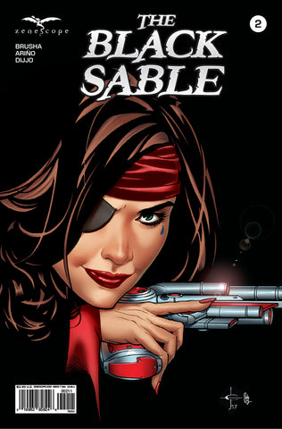 The Black Sable #2 Captain Sable Pistol Silhouette Black Background Space Cool Comic Book Cover Art