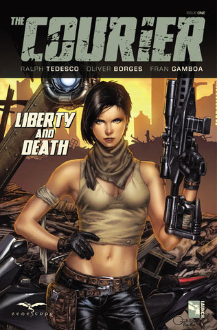 The Courier: Liberty & Death #1. Cover A. Geebo Vigonte. Ula Mos. Zenescope. 2021.