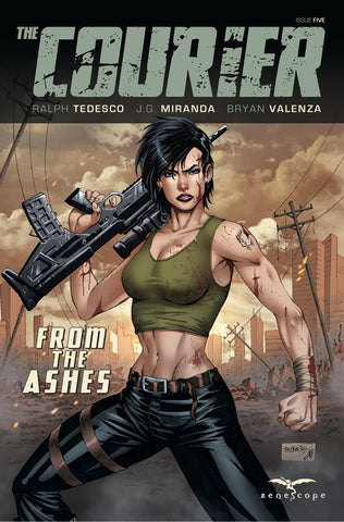 The Courier #5 Eve Apocalypse Assault Rifle Tank Top Intense Thrilling Comic Book Cover Art