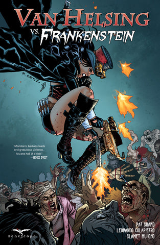 Van Helsing vs. Frankenstein Trade Paperback Richard Ortiz Van Helsing Fight Monsters Guns Blazing Action