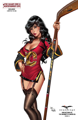 Van Helsing vs. The Mummy of Amun-Ra #4 - Cover E Michael Dooney Calgary Flames Cosplay Hockey Girl with Stick