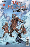 Van Helsing vs. The Werewolf #3 Ice Snow Mountain Canyon Zombie Adventurers Rising Exciting Thrill Comic Book Cover Artwork