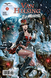 Van Helsing vs. the Werewolf #4 Under Attack Werewolves Winter Mountain Pass Temple Fight Comic Book Cover Art