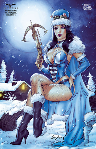 Van Helsing vs. Dracula #4 - Cover E Helsing Parka Winter Hat Snow Gear Moonlight Winter Comic Book Cover Art