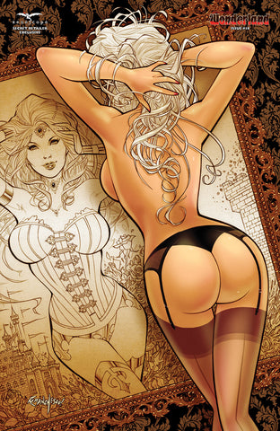 Wonderland #18 - Cover E Naughty Naked Girl Mirror Artwork Drawn Old-Fashioned Burlesque