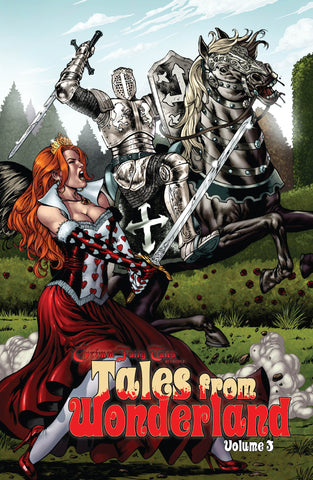 Tales from Wonderland Volume 3 Red Queen Fighting Knight Swords Castle Battlefield Action Comic Book Cover Art