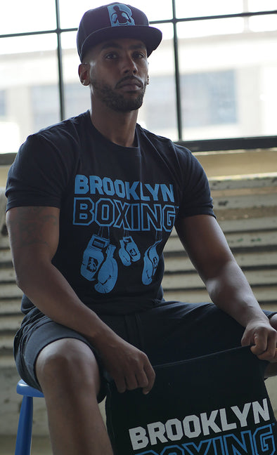 Cyan/Black Brooklyn Boxing Hanging Gloves T-shirt