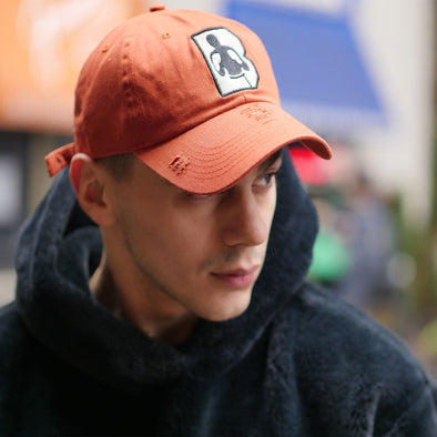 Distressed B Logo Orange Dad Hat